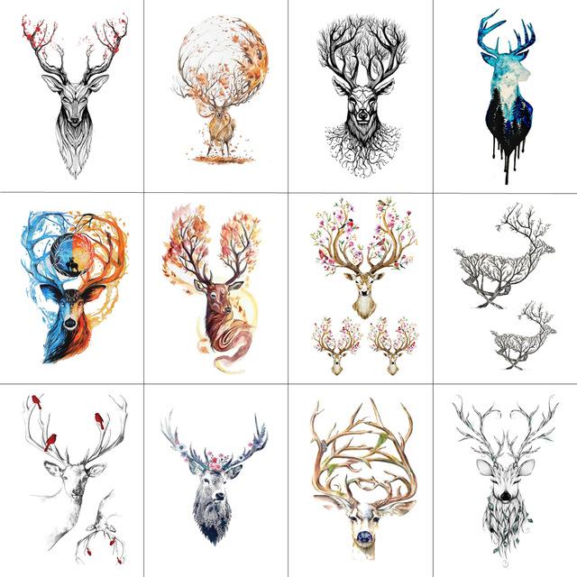 12 Sztuk Tatuaże Zmywalne Jelenie Różne Modele 7338941321