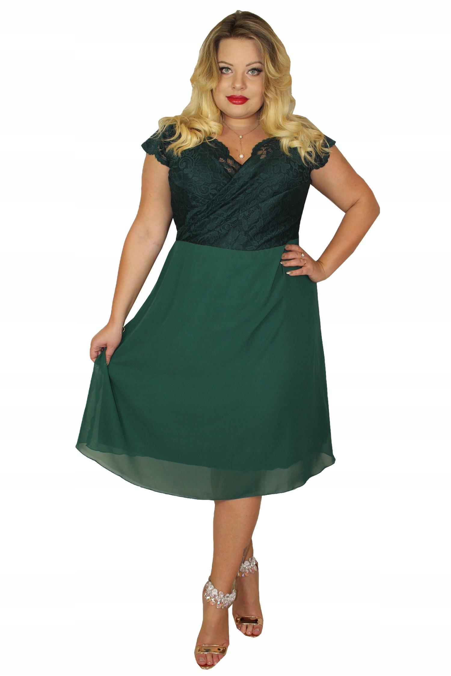 66ef2e24a496b3 Sukienka STELLA koronkowo-szyfonowa but. zieleń 46 - 7606313750 ...