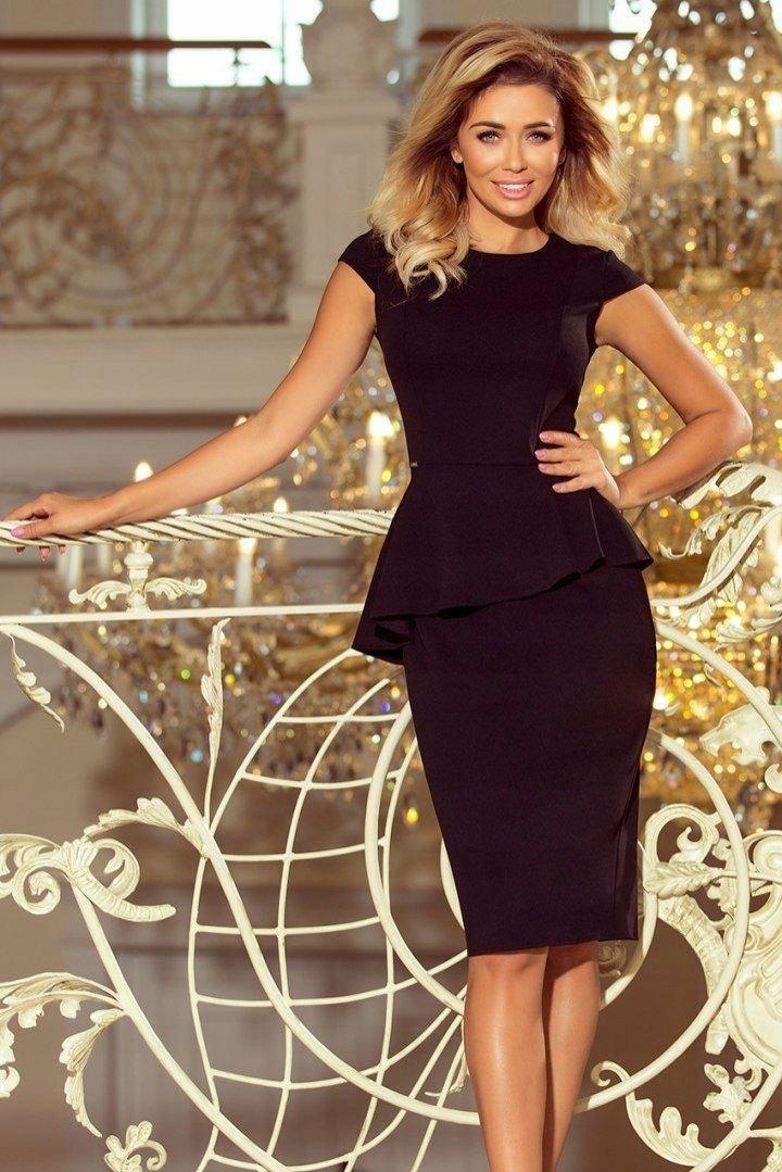 fe891e11c8 Elegancka sukienka z baskinką - CZARNA XL - 7600820589 - oficjalne ...