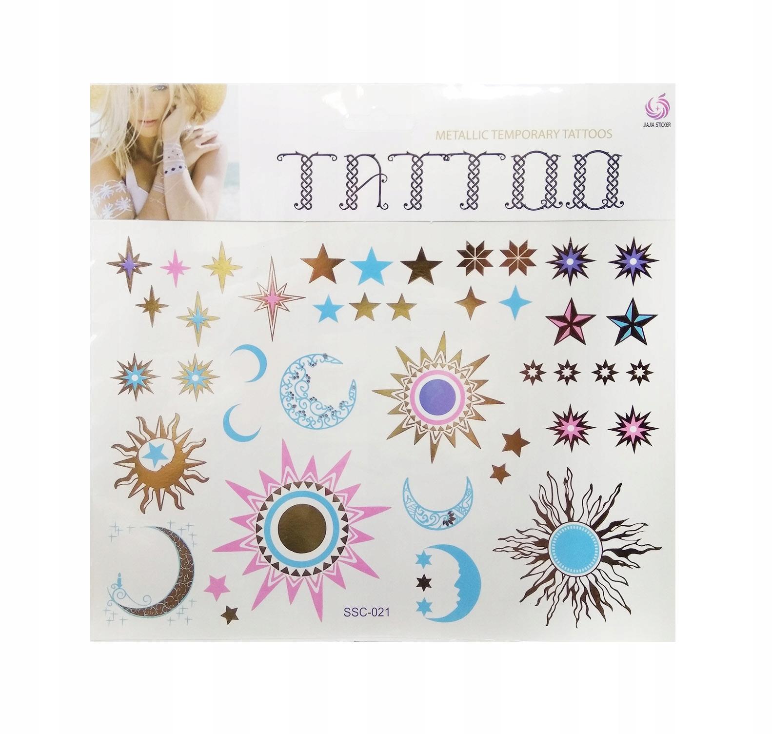 Tatuaże Kolorowe Złote Motywy 021 Zestaw Ond9891