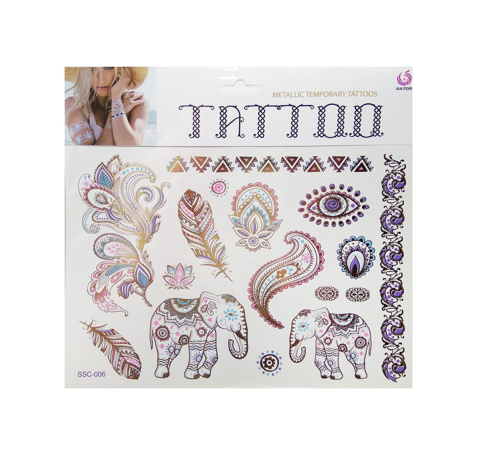 Tatuaże Złote Kolorowe Motywy 006 Zestaw Ond9891