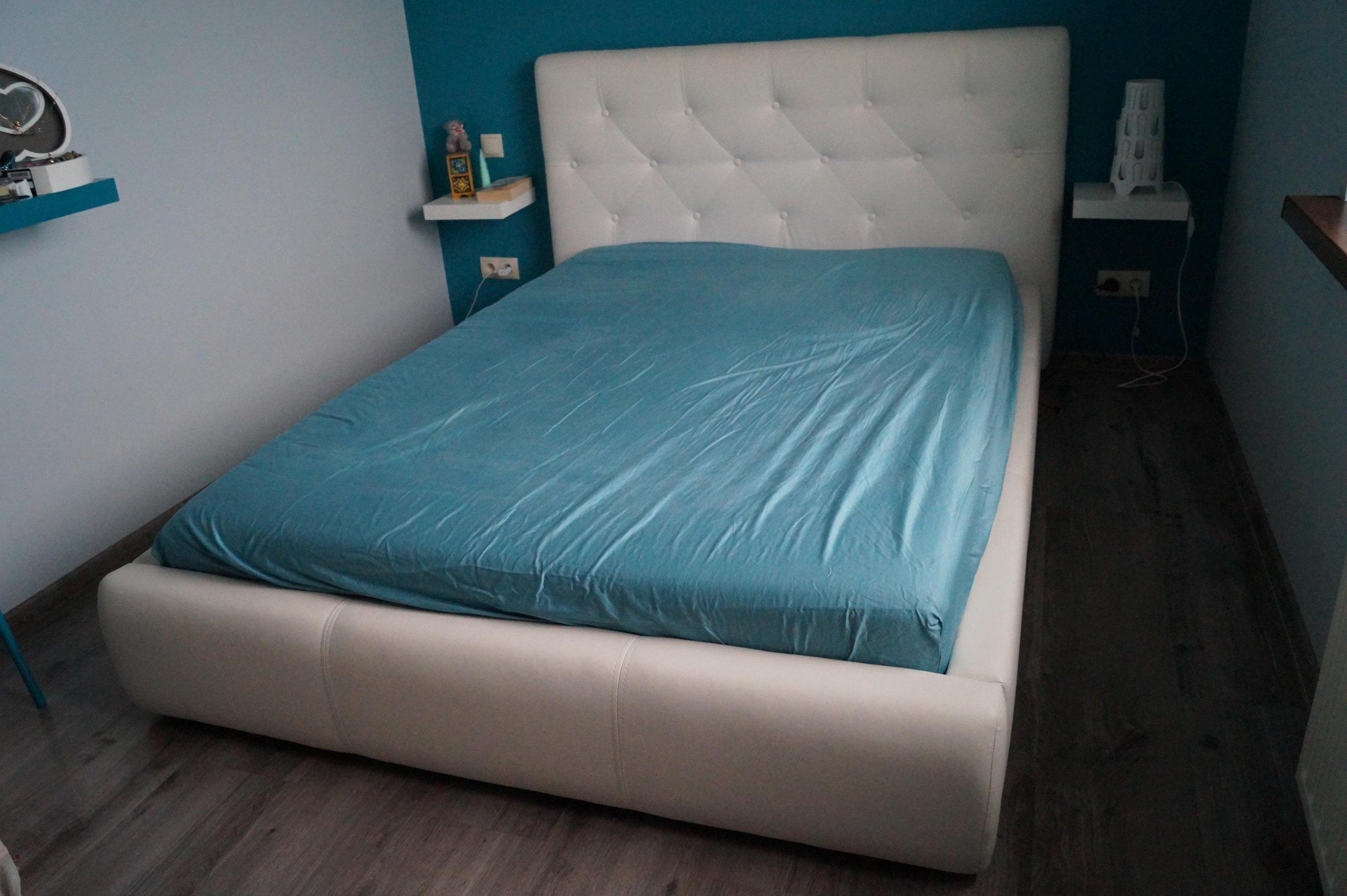 łóżko Białe Pikowane Brw Roksana 140x200 Eko Skóra