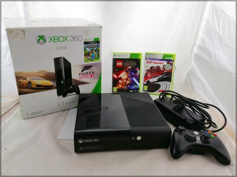 KONSOLA XBOX 360 E 500 GB + 2 GRY, PAD, KABLE, PU