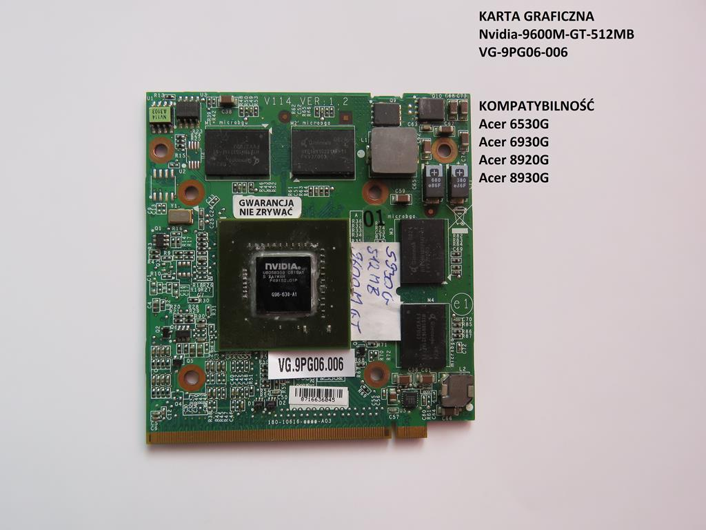 Karta Graficzna Nvidia 9600 Gt Do Laptopa Acer 7222403462