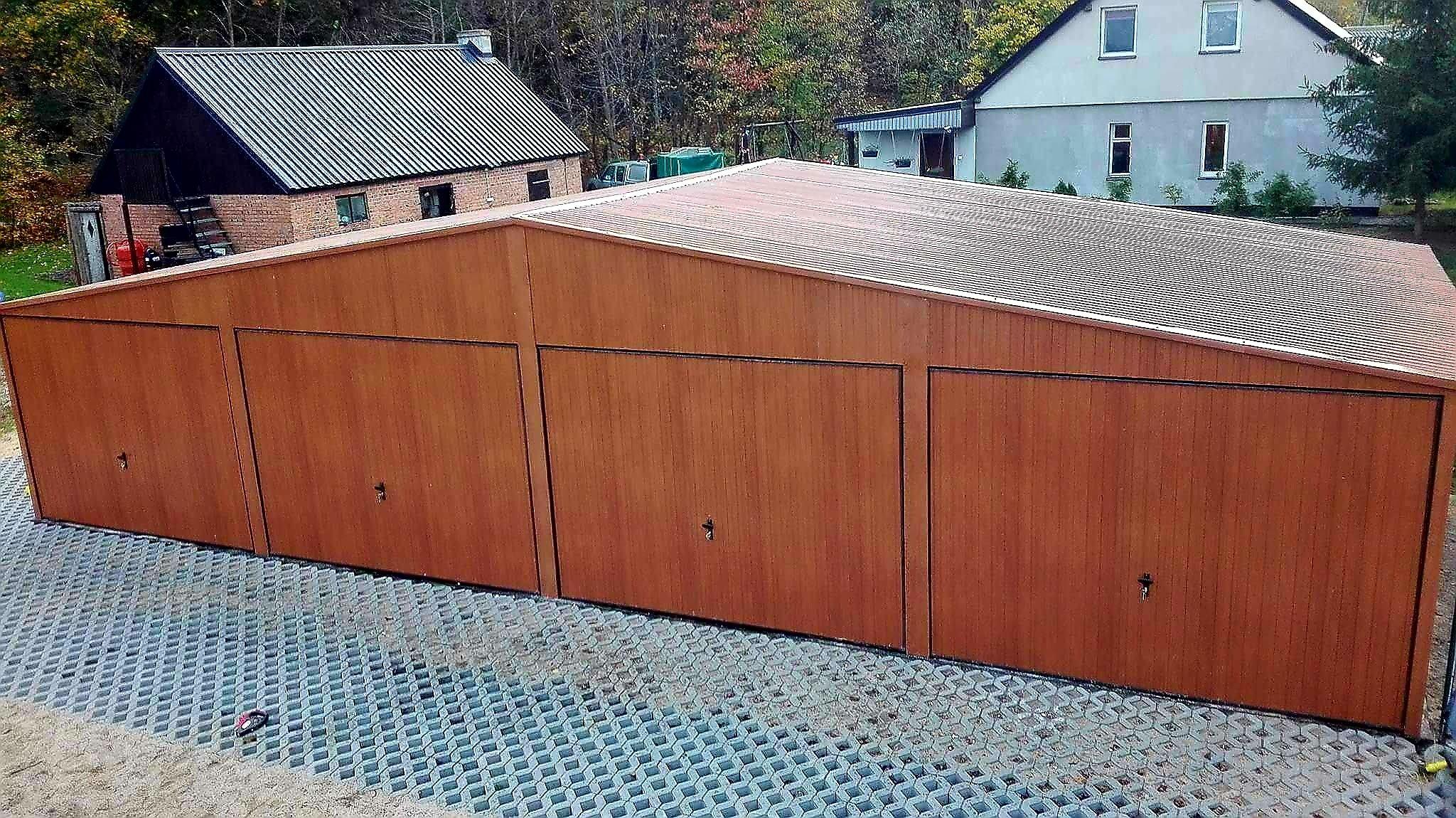 Garaż Blaszany Drewnopodobny 12x5 Złoty Dąb Orzech 7265875603