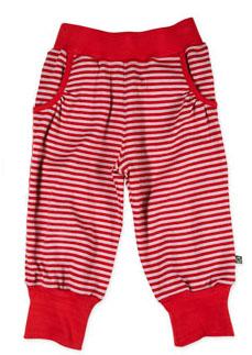 Czerwone długie spodnie BIO bawełna 65 cm /paski/