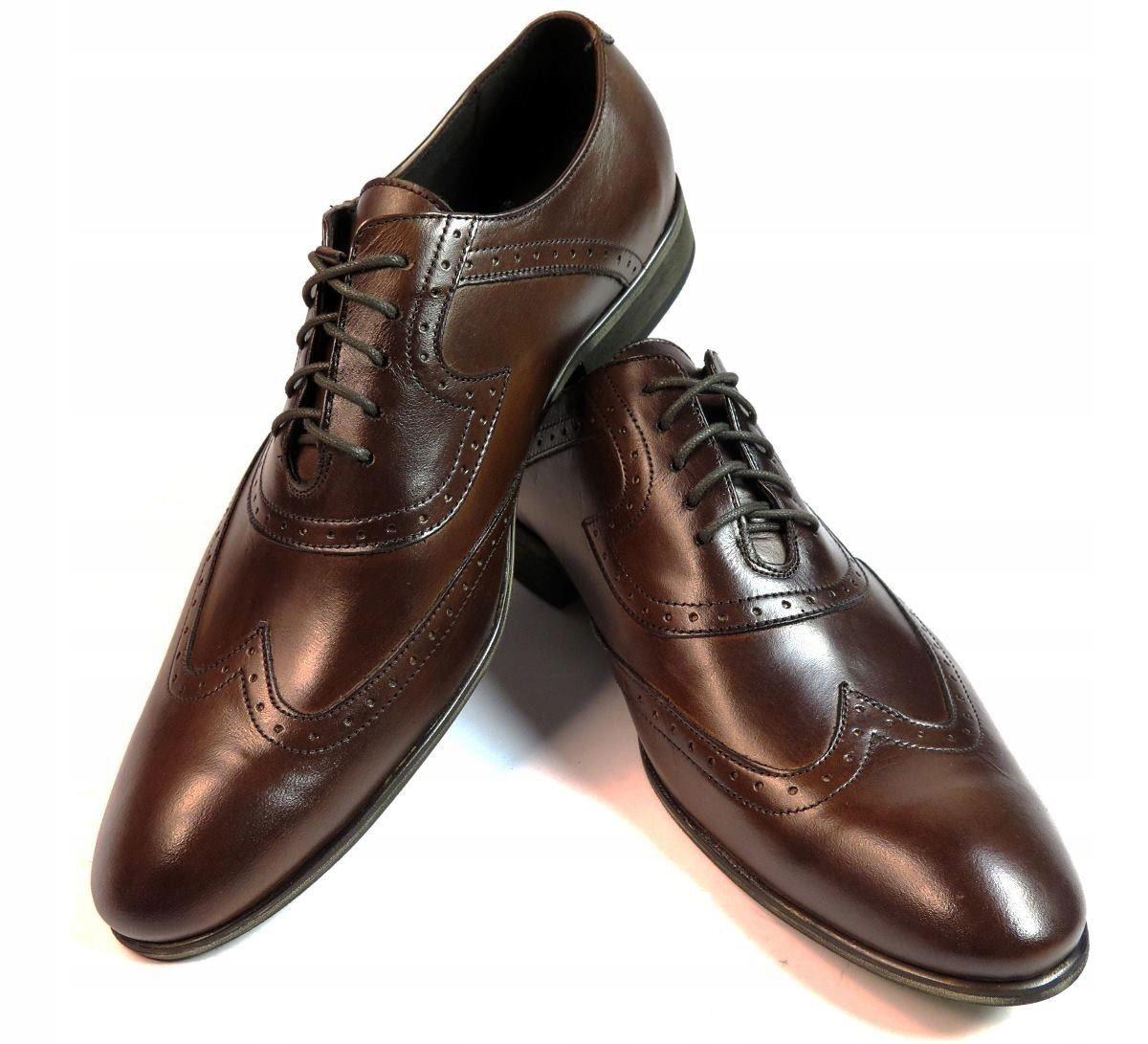 c0821bfbb7d2e ... Brązowe buty męskie do garnituru Modini r. 44 T92. BRĄZOWE PÓŁBUTY DO  GARNITURU T56 BROGSY MĘSKIE 45