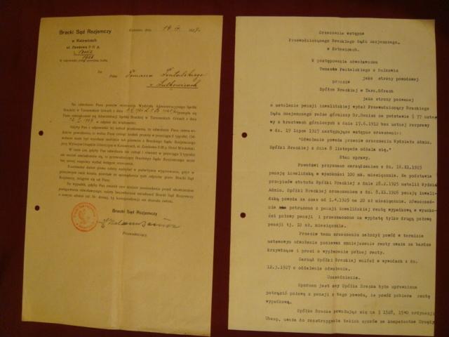 Bracki Sąd Rozjemczy, KATOWICE -1927 r. - 2 pisma