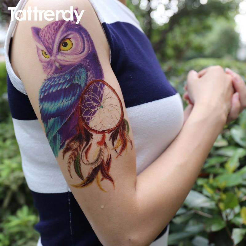 łapacz Snów Sowa Tatuaż Zmywalny Tymczasowy 20x15