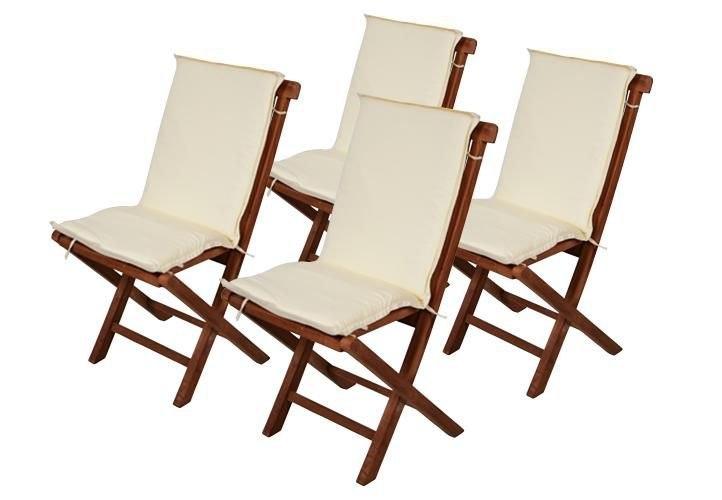 4 X Poduszki Na Krzesła Ogrodowe Kremowe 7365477141