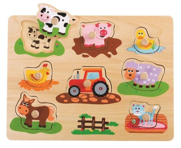 Układanka z uchwytami Przyjaciele z farmy traktor