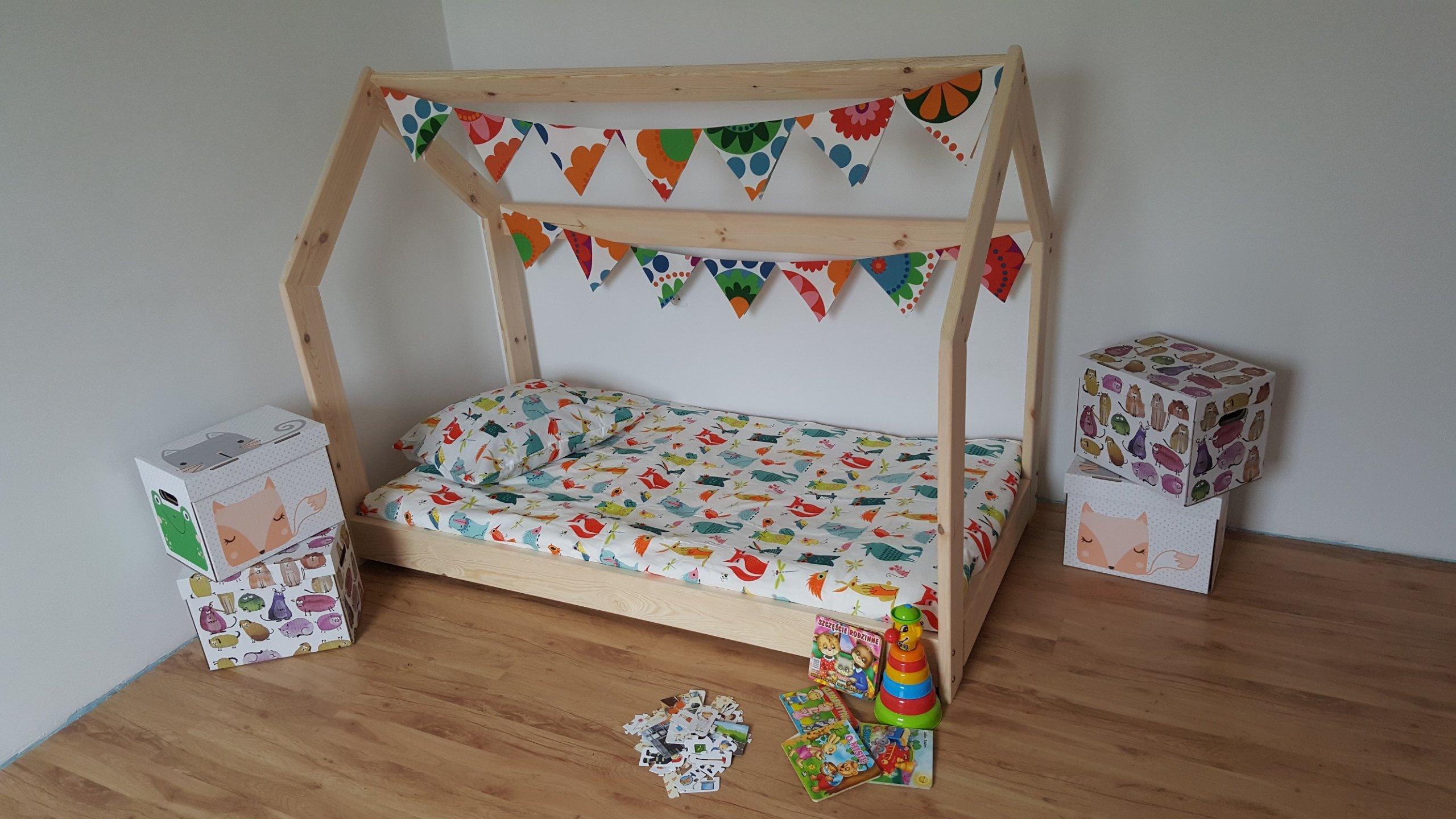 łóżko Domek 80x160 łóżeczko Dziecięce Drewniane 6968398841