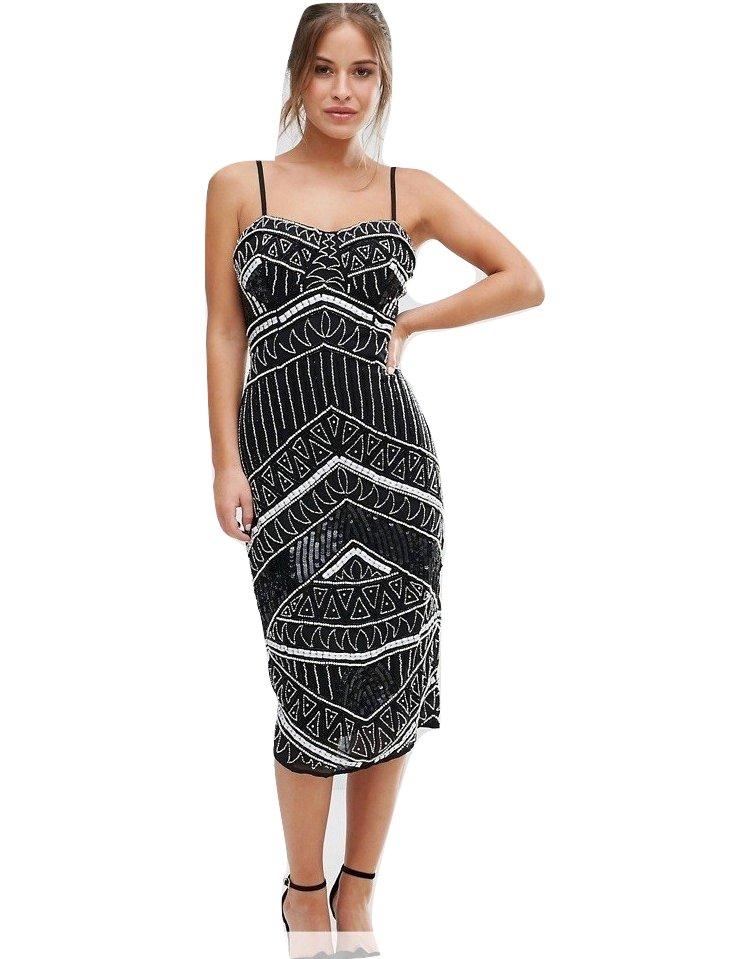 200a0093bc Maya Petite sukienka czarna cekiny midi 36 S - 7363429308 ...