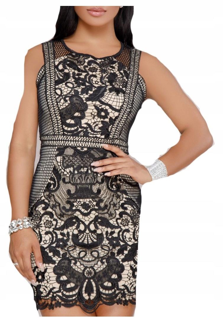a3ae39eb4a Sukienka koktajlowa koronkowa ażurek czarna ecru M - 7457906331 ...