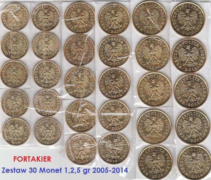 ZESTAW 30 MONET Z WORKÓW ROK 2005-2014