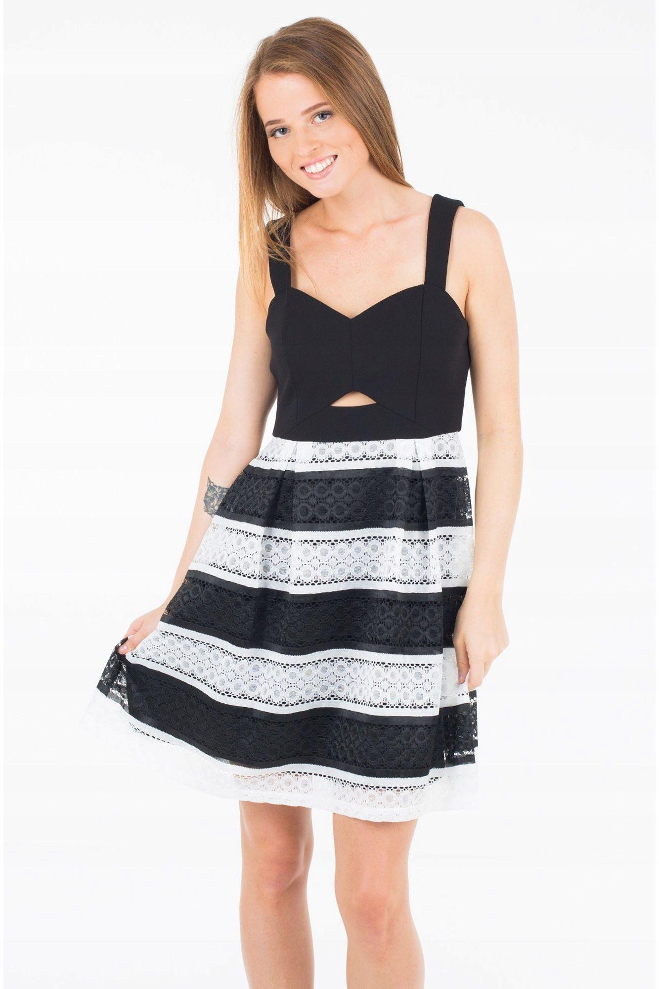 4bf4255bcc GUESS Czarno biała sukienka koronka (XS) - 7636438710 - oficjalne ...