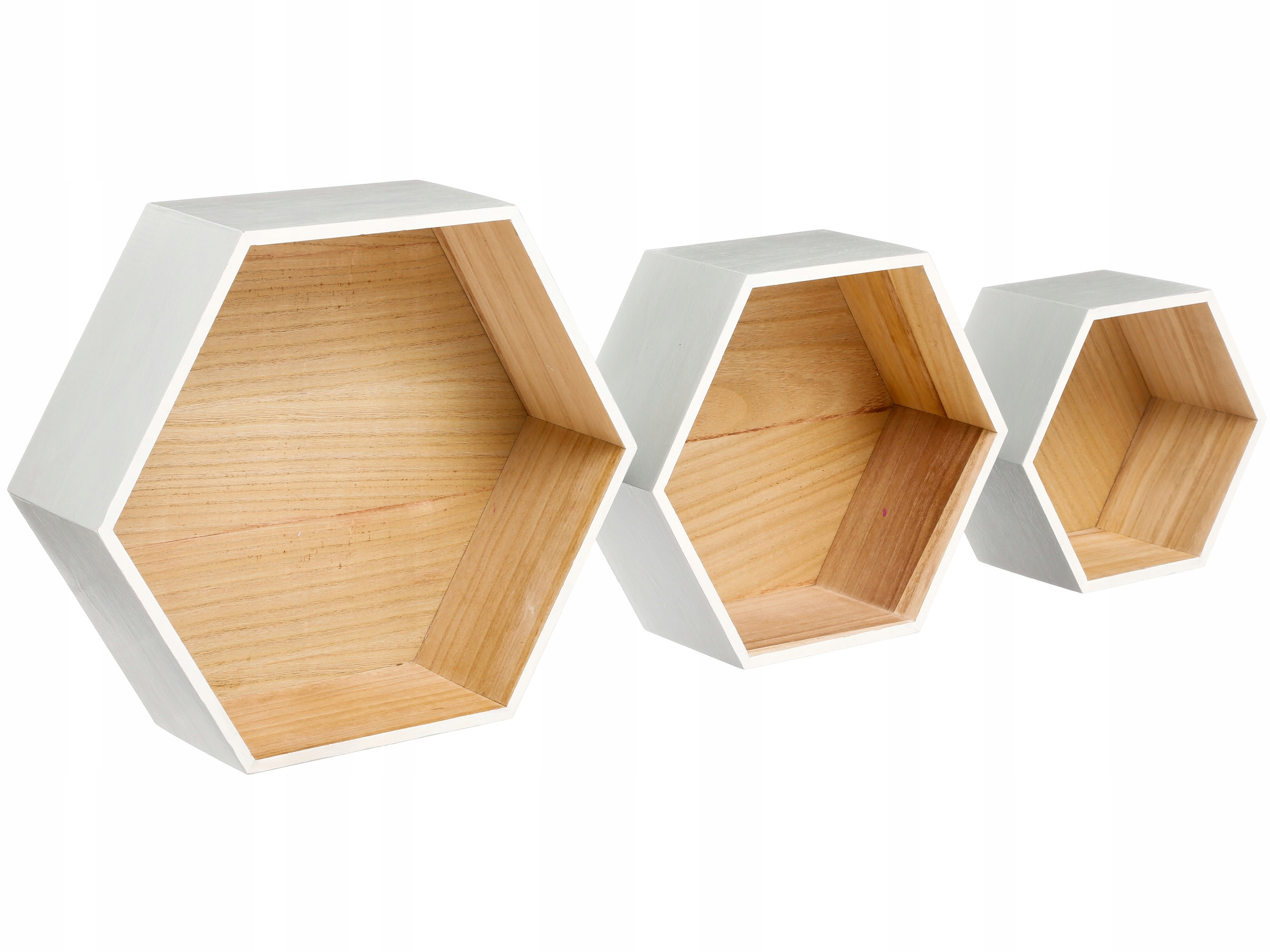 Wiszące Półki Drewniane 3 Sztuki Dekoracyjne Białe