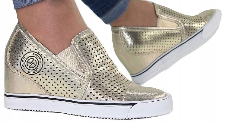 e7e6ac49 BUTY DAMSKIE botki sneakersy AŻUROWE koturny kb173 - 7245786840 ...