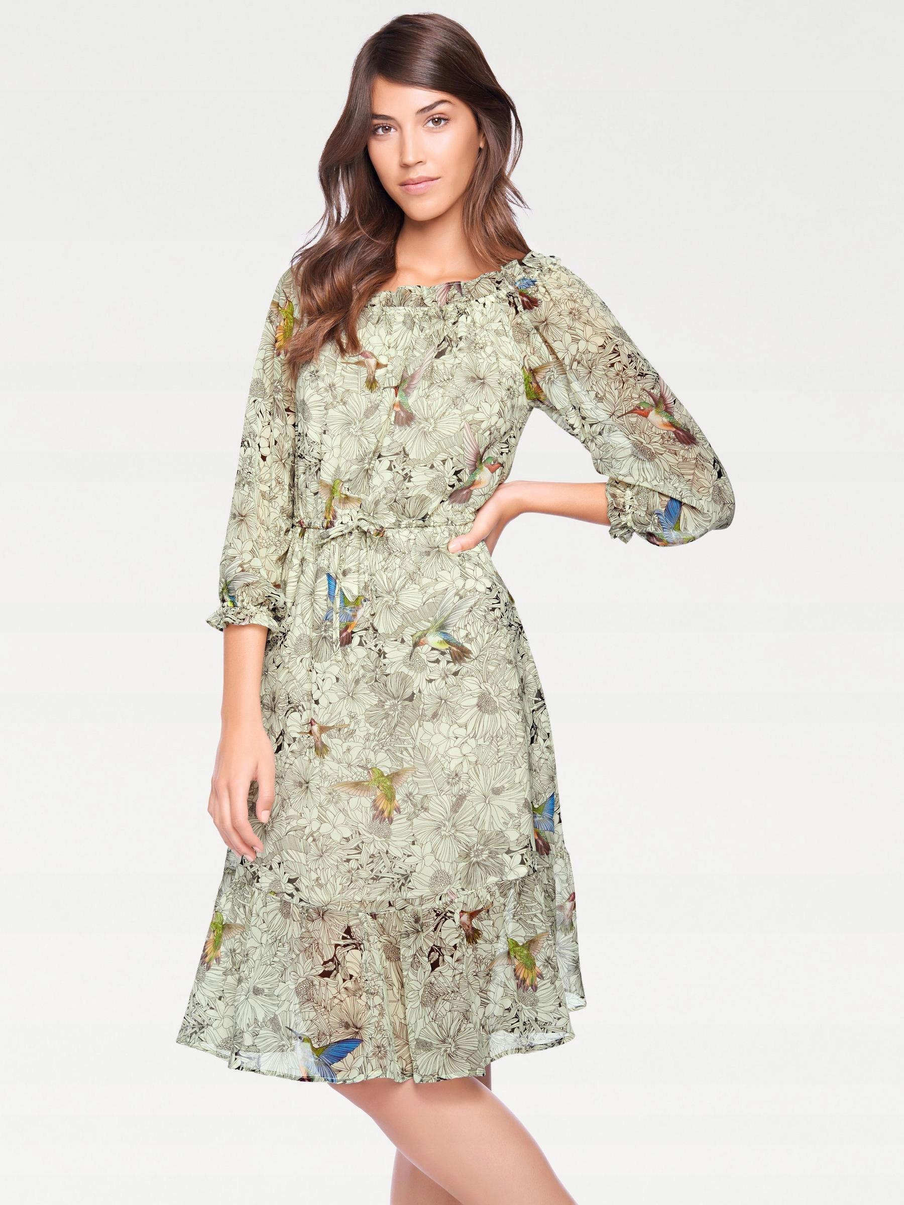 c673577145 Tesini szyfonowa sukienka z motywem ptaka 34 36 - 7604039016 ...
