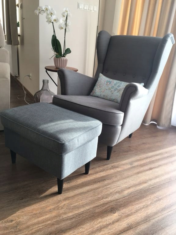 Fotel Ikea Strandmon Szary Z Podnóżkiem 7647995024