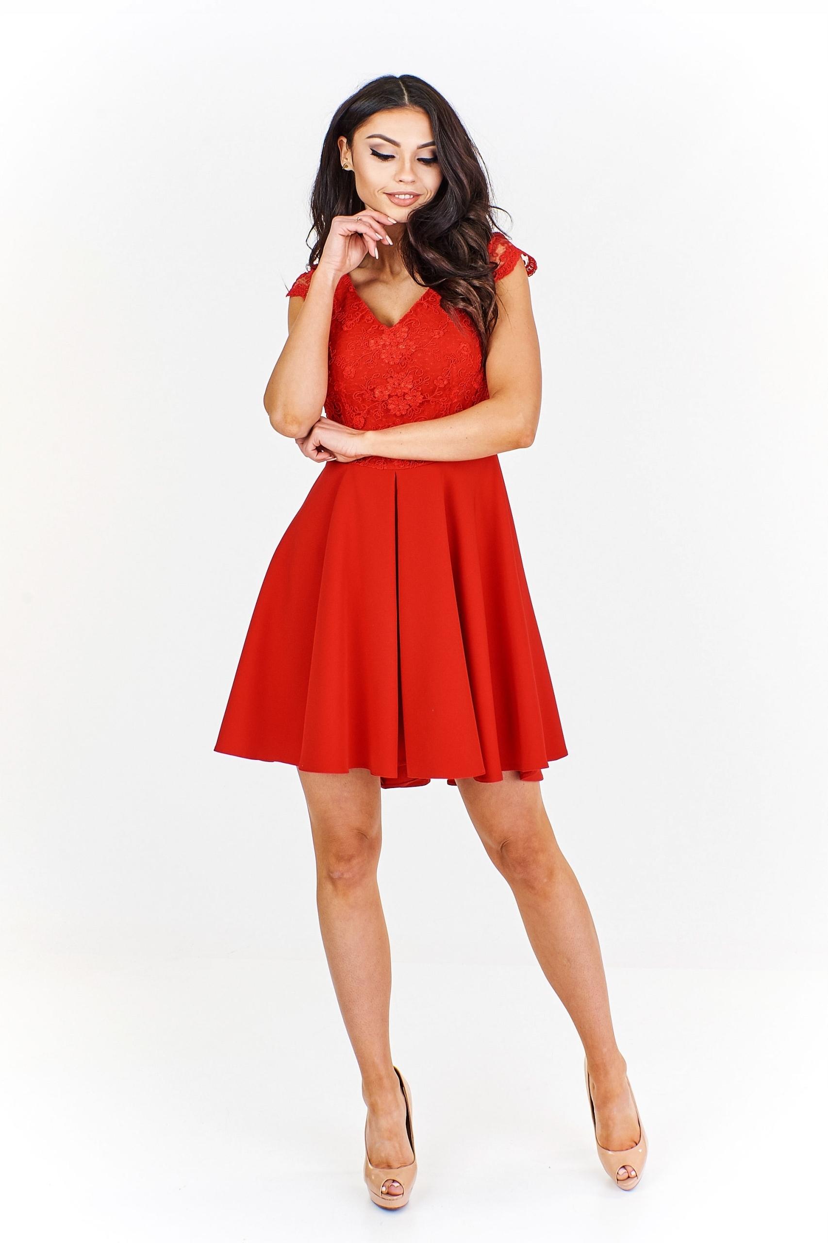 7e4fb51824 Sukienka z koronkowym gorsetem 42 Czerwony - 7514690187 - oficjalne ...