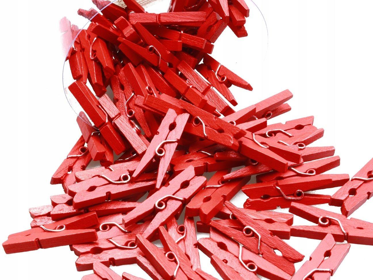 KLAMERKI MINI SPINACZE 72szt 3cm Czerwone