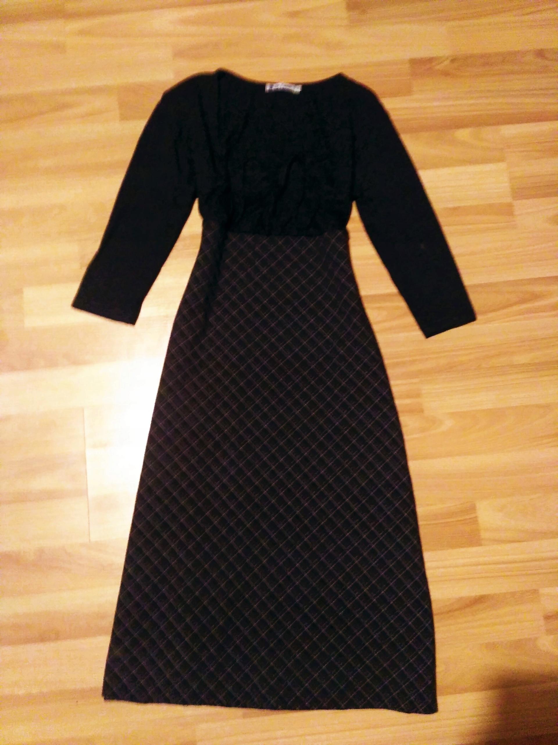 9214e21d09 De Facto sukienka Szara Czarna KRATKA S 36 M 38 - 7693996392 ...