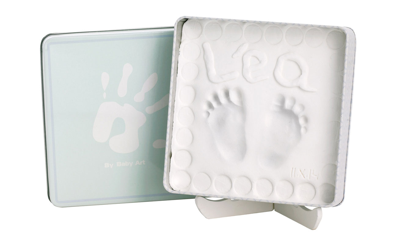 Młodzieńczy Odcisk rączki stópki dziecka pudełko ze stojakiem - 7415713111 JI13