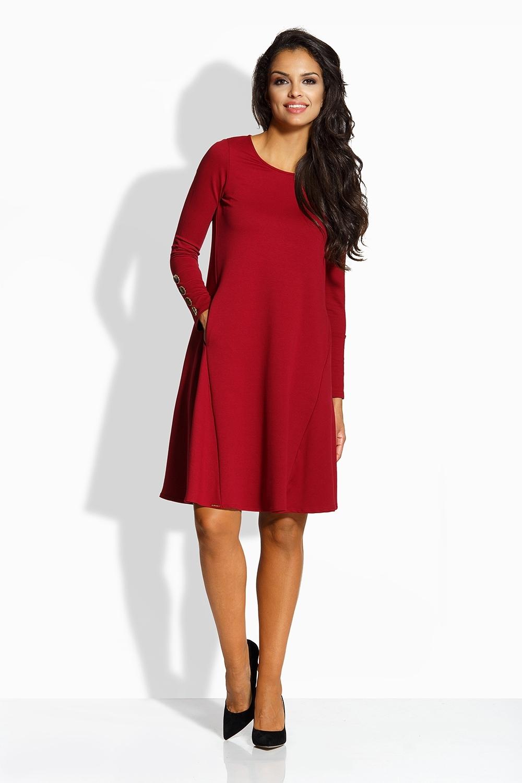 743d608c7c ELEGANCKA STYLOWA rozkloszowana sukienka L bordo - 7377332417 ...