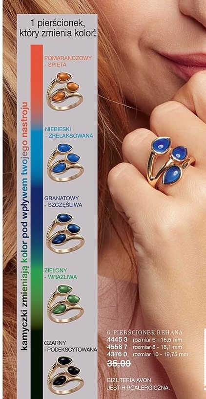 Inne rodzaje Pierścionek Rehana zmieniający kolor r.10 Avon - 7123461102 ED68