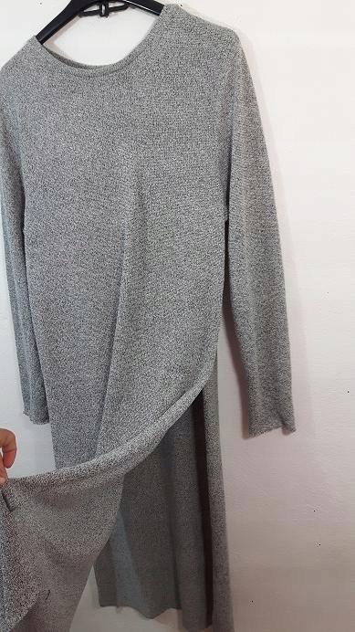 07f8d8e97d1282 ZARA sweter sukienka z rozcięciami dzianina L nowa - 7582525162 ...