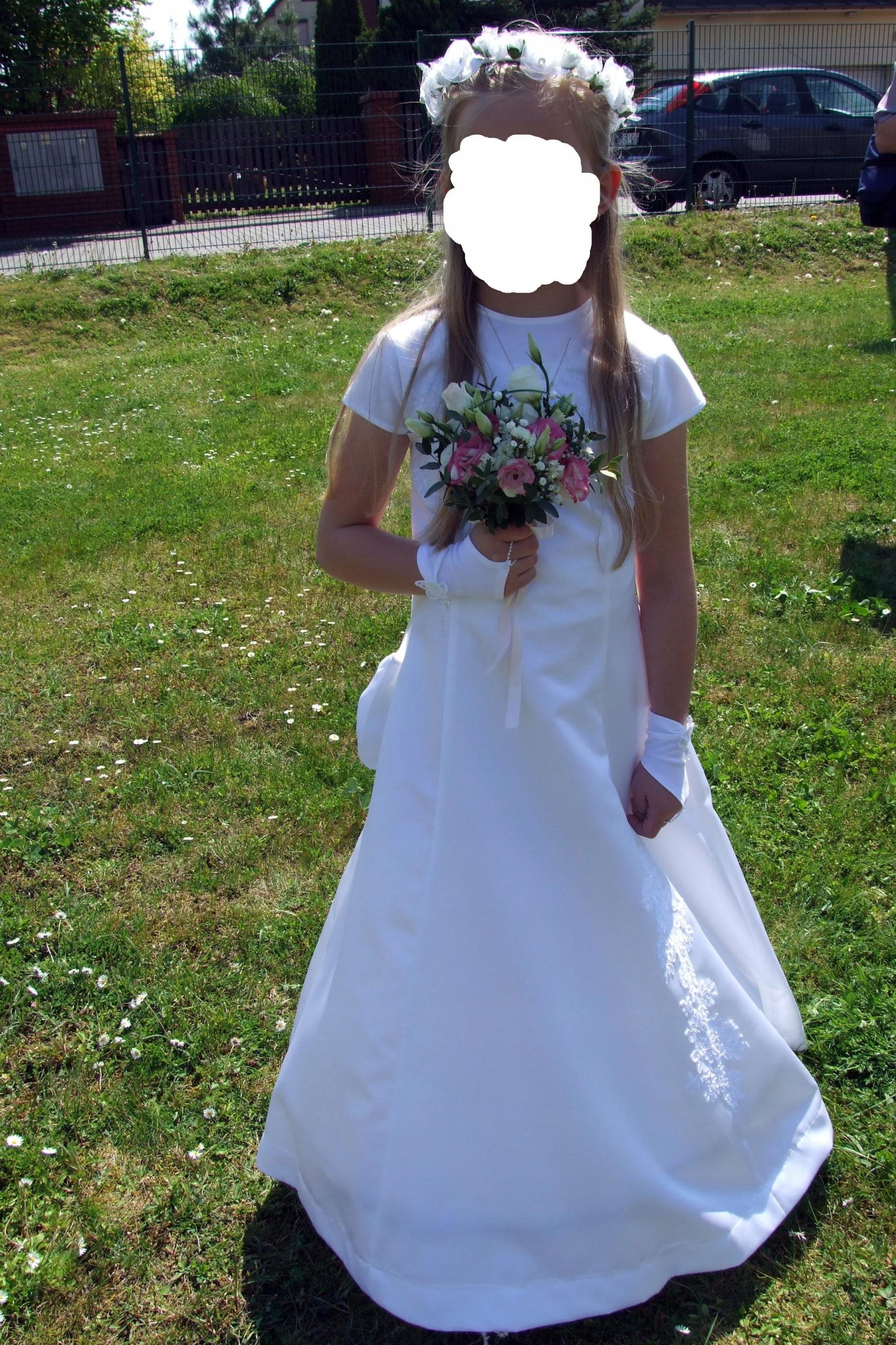 2009017986 Sukienka komunijna + dodatki - 7699129361 - oficjalne archiwum allegro