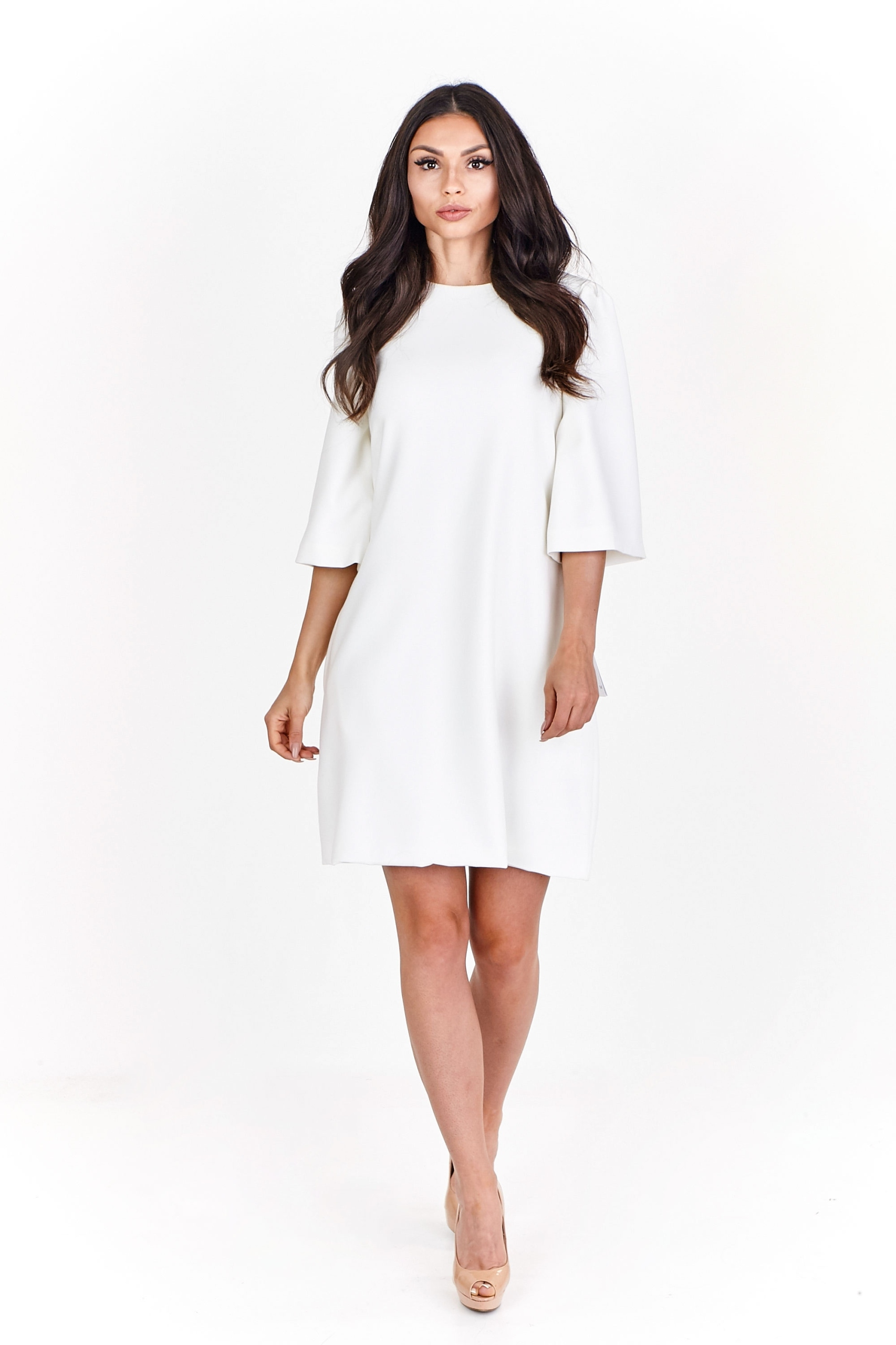 1fadda5f30 Minimalistyczna sukienka trapezowa 34 Kremowy - 7525449965 ...