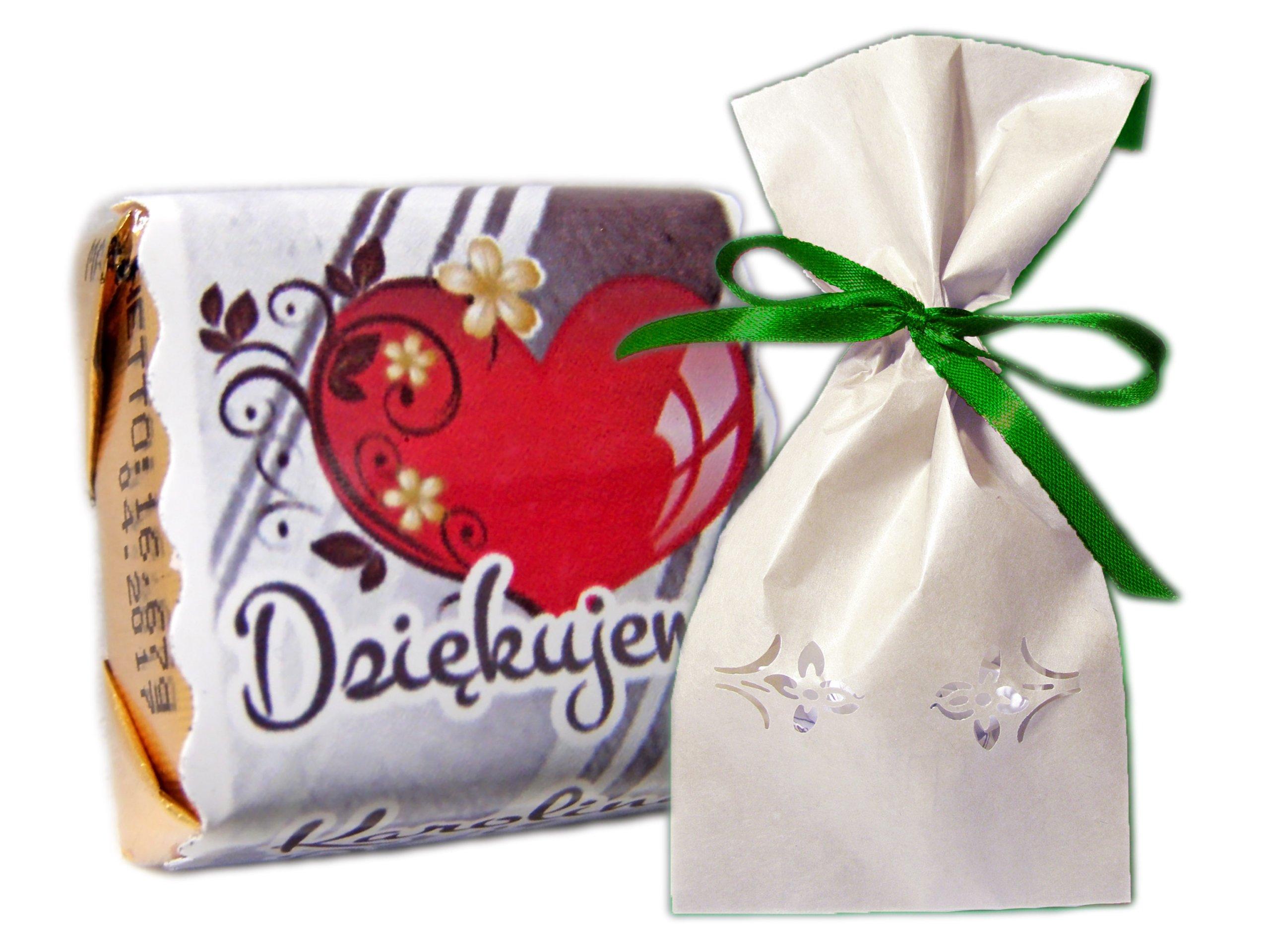 Foto czekoladki podziekowania ślub KORONKOWY worek