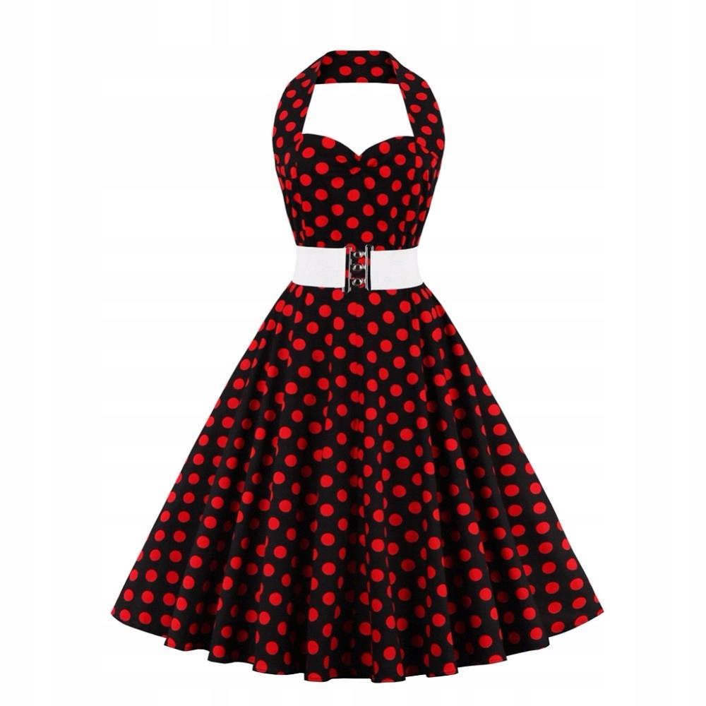 f7437580 Sukienka PIN UP retro rockabilly VINTAGE W GROCHY - 7273257397 ...