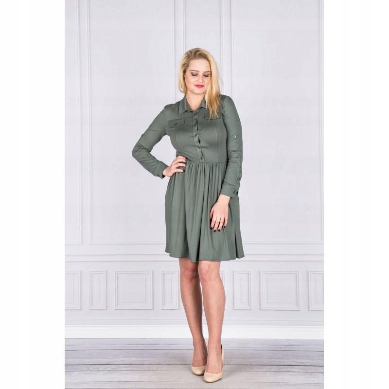 40794d11e2 Sukienka szmizjerka Zielony 42 - 7544146450 - oficjalne archiwum allegro