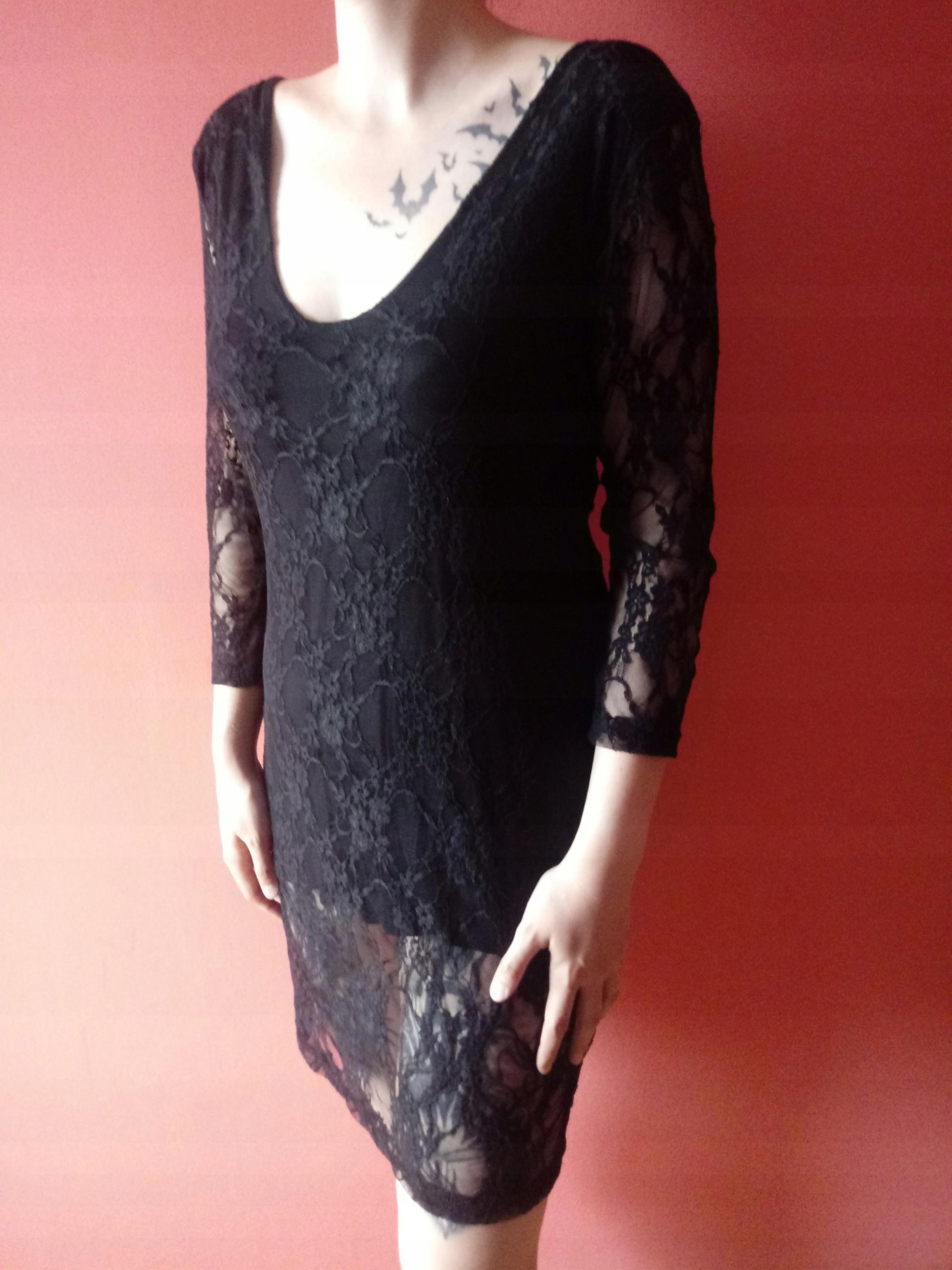 ba4ea65df1 czarna elegancka dopasowana sukienka goth koronka - 7443013708 ...