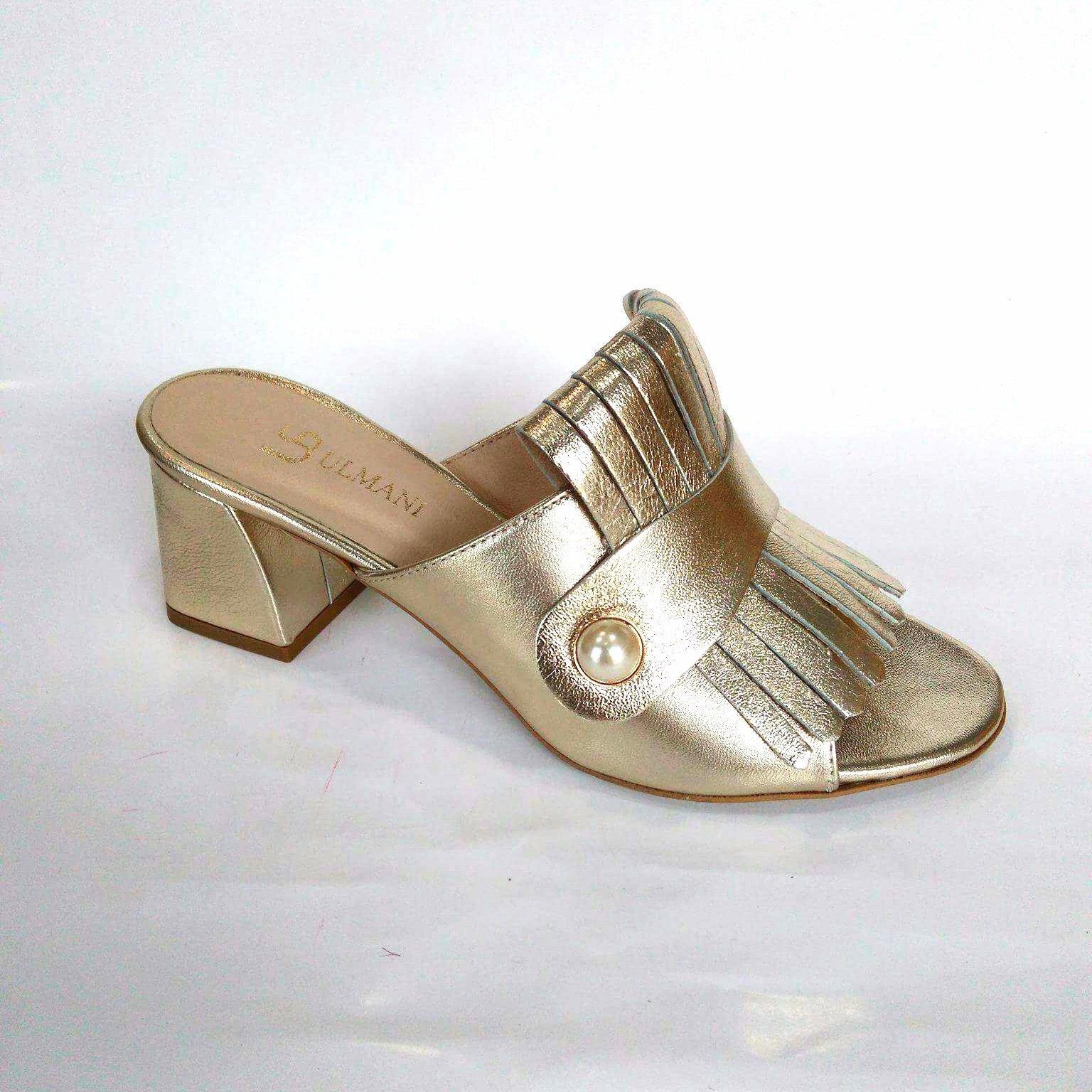 de234b43ab52e Klapki Ulmani Shoes 18601 skóra złote na obcasie37 - 7324964570 ...