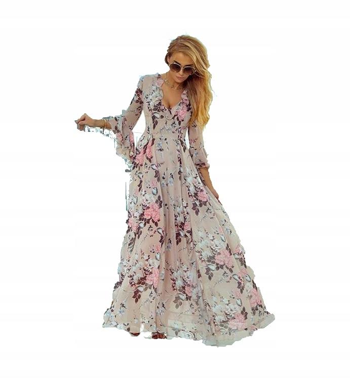 2b6c0ad1b Sukienka Suknia Beż Print Kwiaty Wesele MAXI M - 7588033256 ...