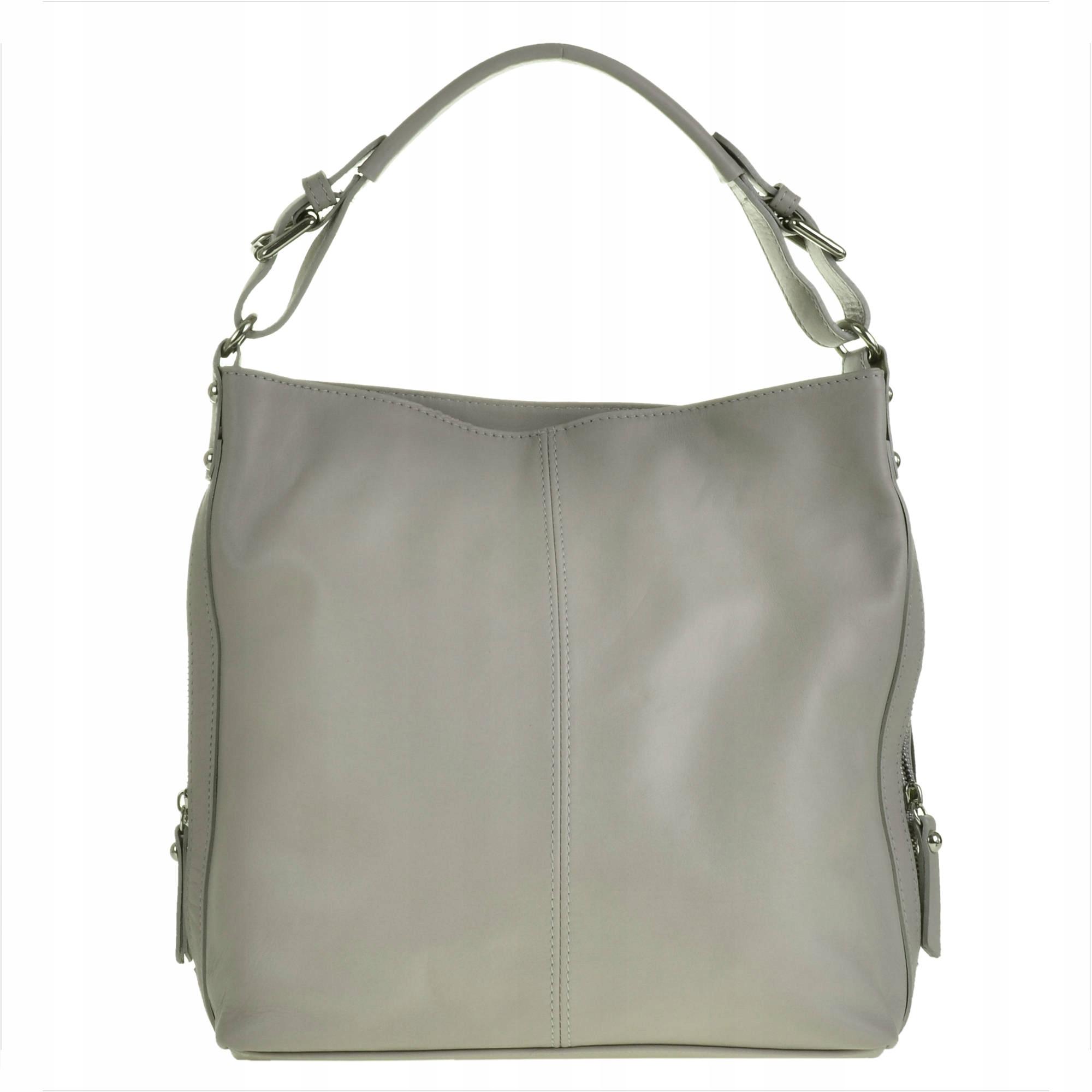8544a3a757b38 Skórzana torba damska na ramię popielata shopper - 7227908056 ...