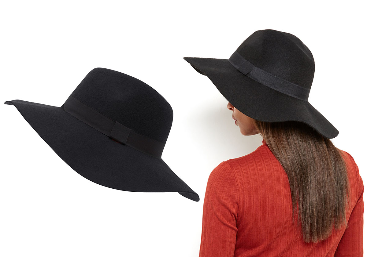 NEW LOOK kapelusz czarny elegancki wełniany 57cm