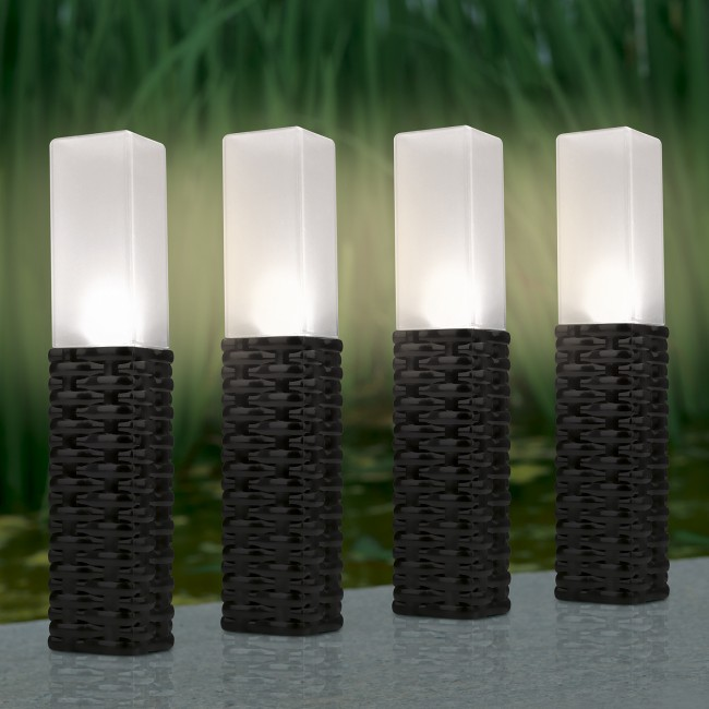 Lampki Solarne Rattan 4 Sztuki Do Ogrodu Led