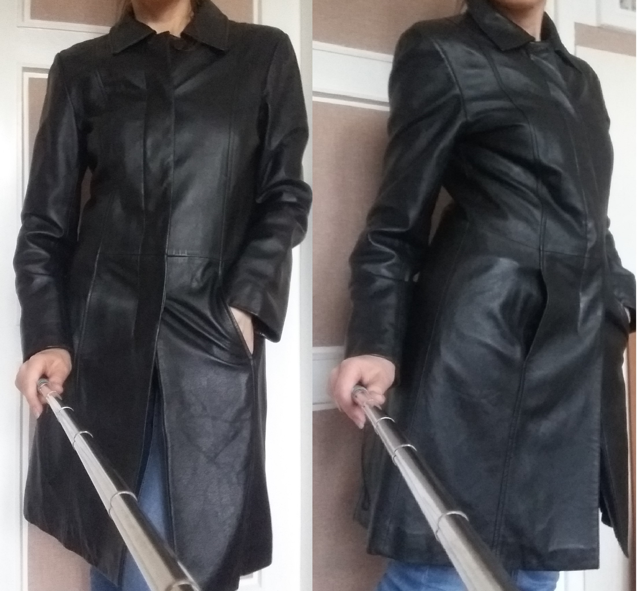241d2ff0e96ac Piękny dopasowany płaszcz ze skóry naturalnej XS-S - 7291156493 ...