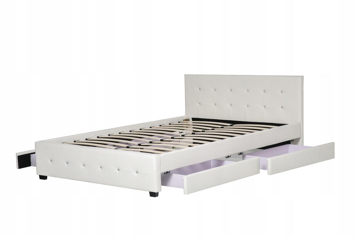 Białe łóżko Tapicerowane 140x200 4 Szuflady 7203884429