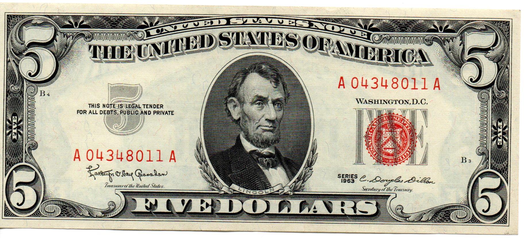 USA 5 Dollars 1963 P-383a A04348011A