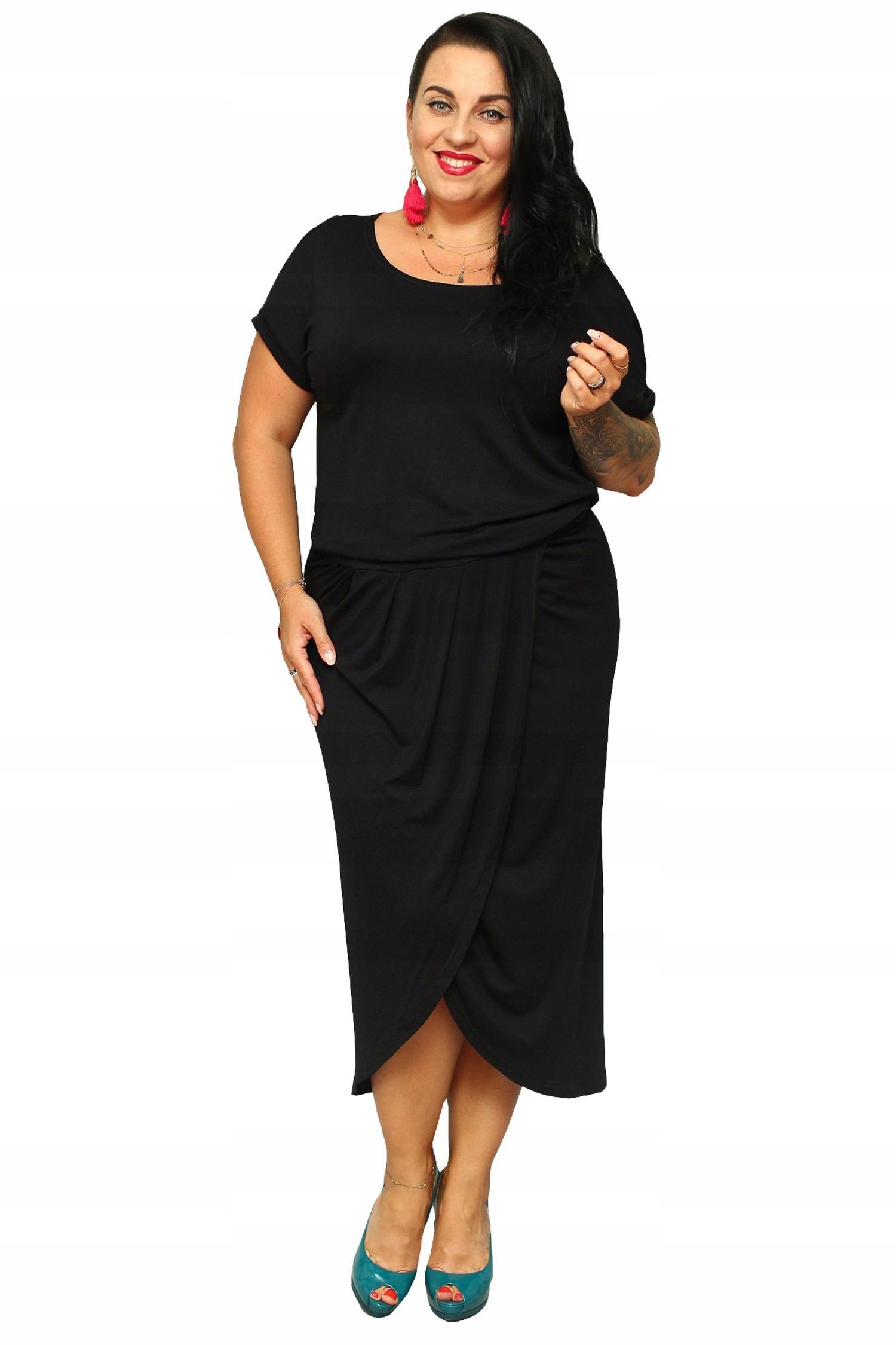 Sukienka TINA tulipan kopertowy tył czarna 42 7426455468