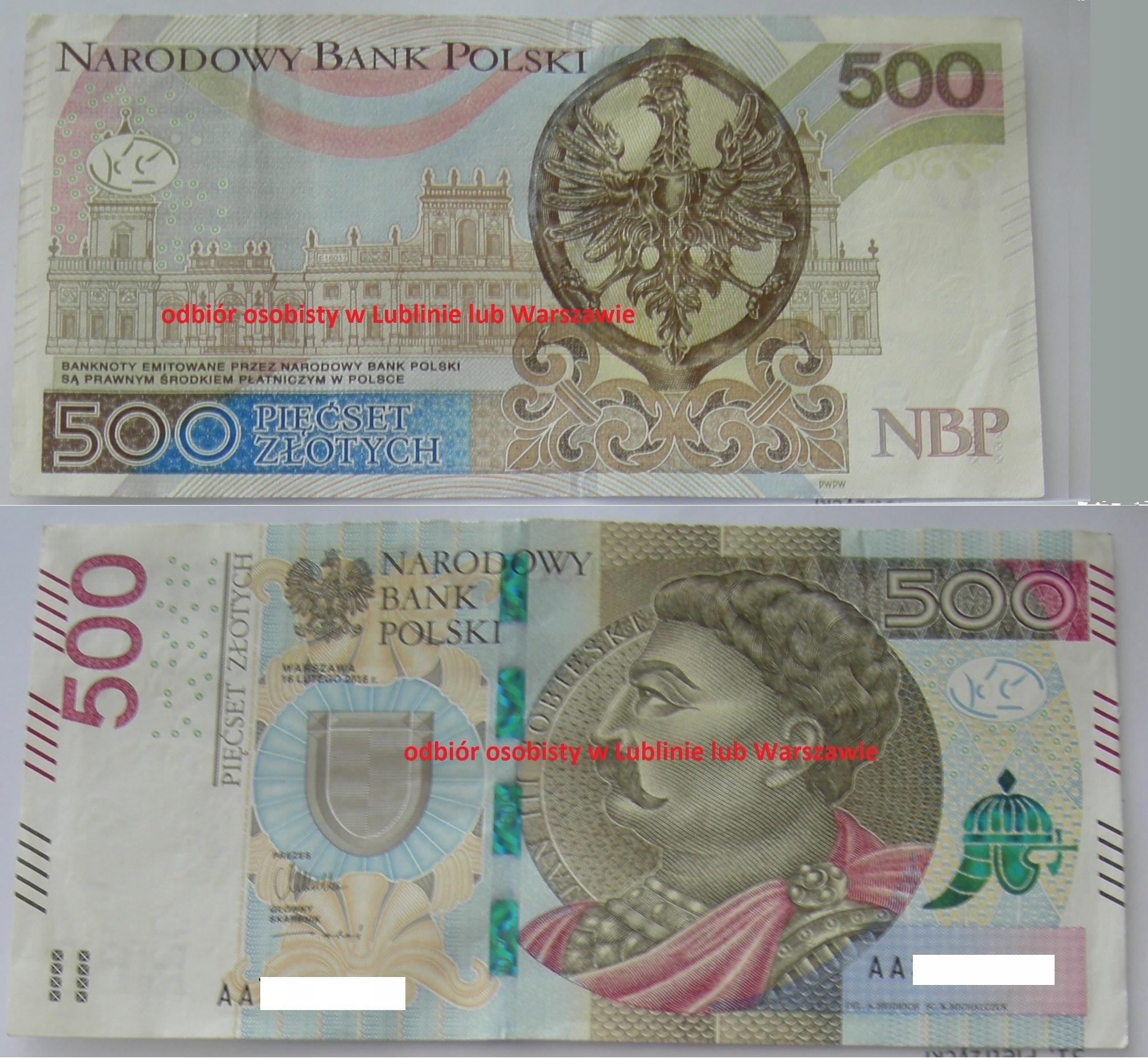 Banknot 500 zł nieobiegowy seria AA Lublin / WWA