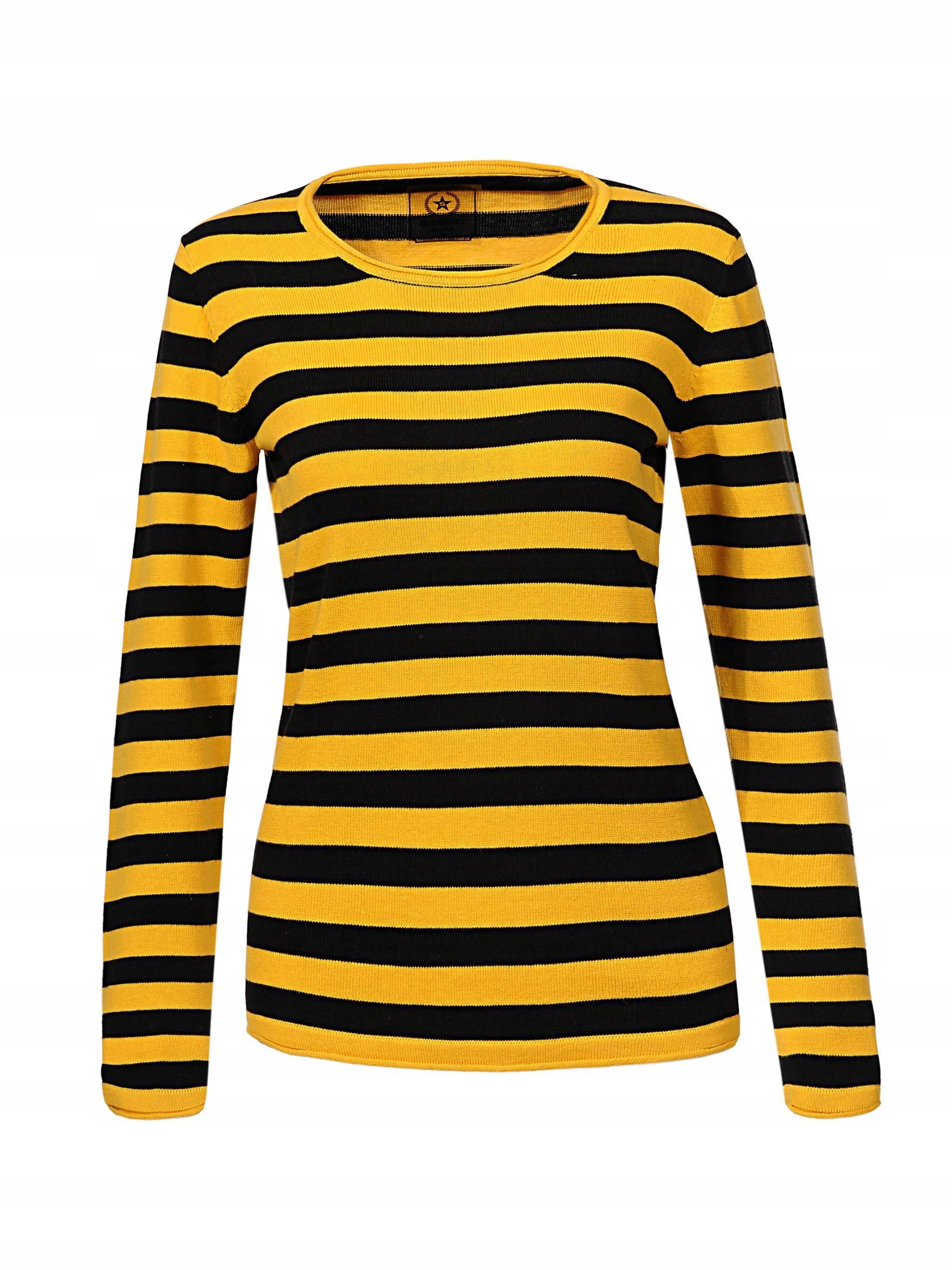 d725721a87544b SWETER DAMSKI W PASKI sweterek żółty paski s - 7713962307 ...