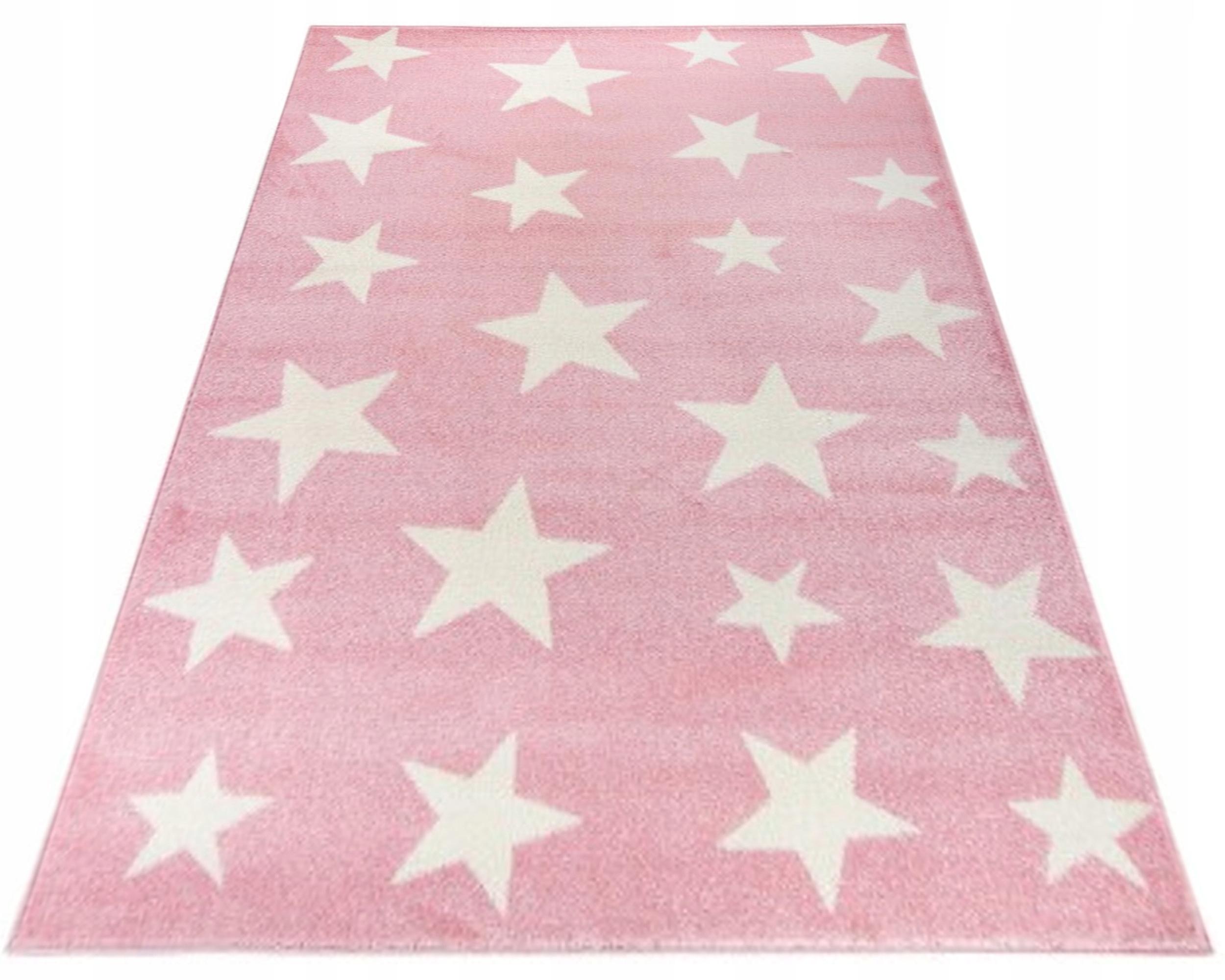 Modny Dywan 140x200 Różowy Dla Dziewczynki Stars