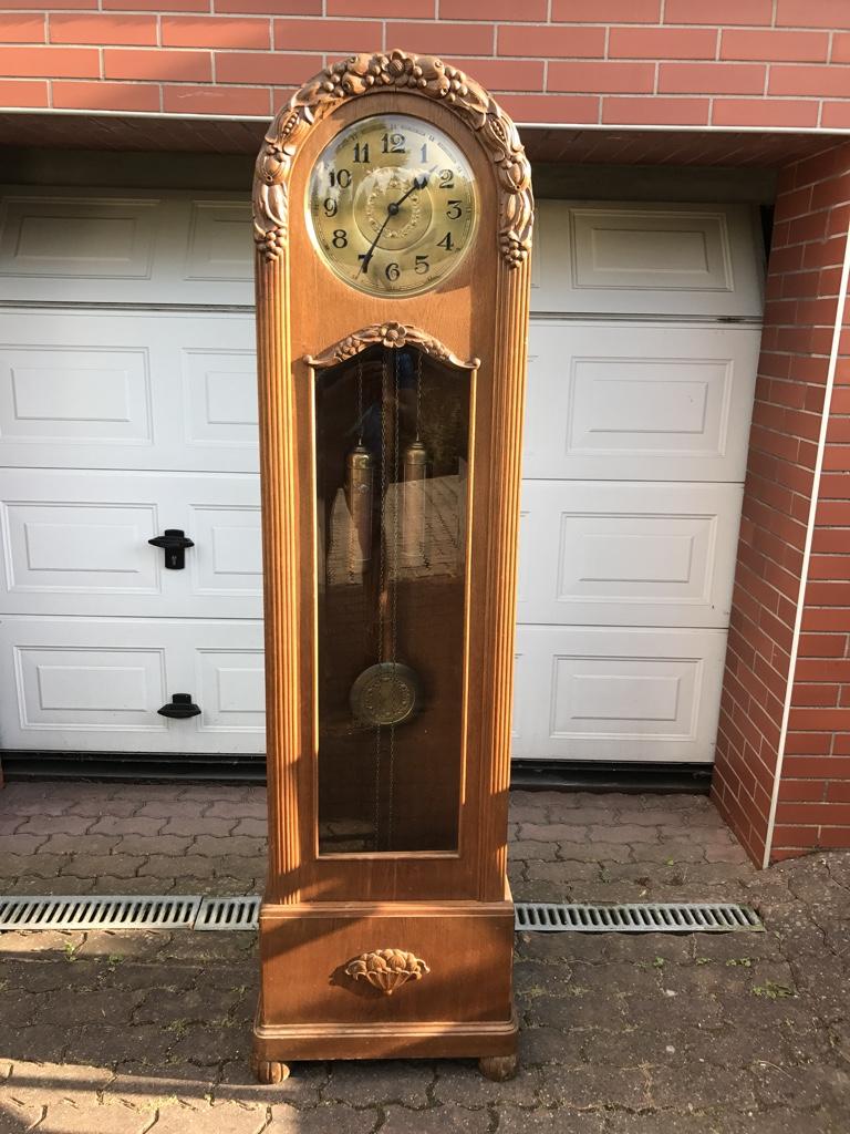 Stary Zegar Stojący Dębowy ładnie Zdobiony 7404784998
